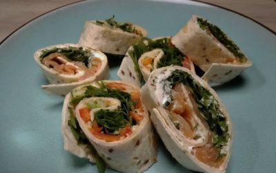 Wrap-Duo: Lachs-Frischkäse und Avocado-Hummus